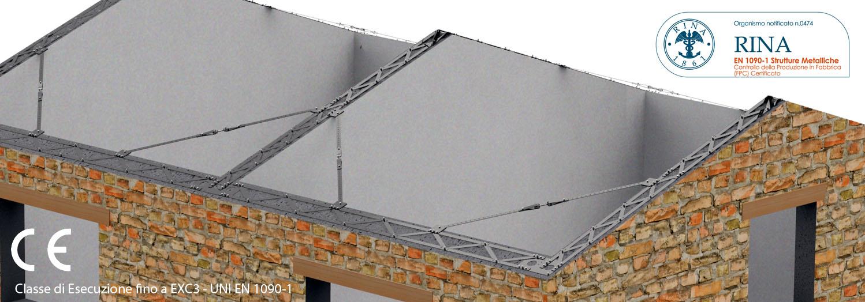 Cordolo in acciaio per tetti